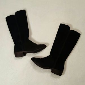 Tall below knee black sued/faux sued boots